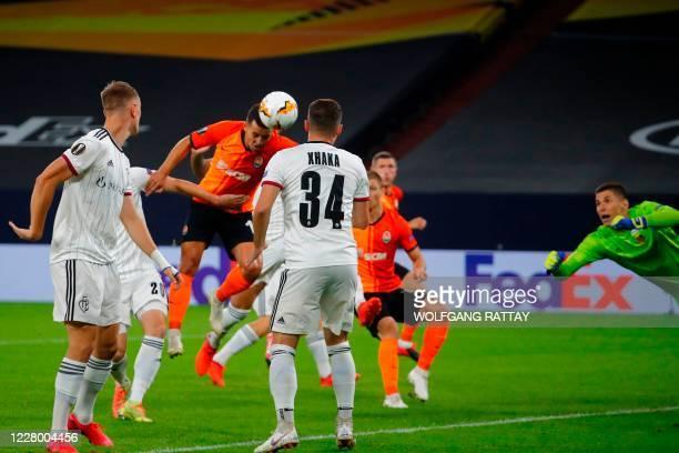 Shakhtar Donetsk's Ukrainian forward Junior Moraes scores a goal during the UEFA Europa League quarter-final football match Shakhtar Donetsk v FC...