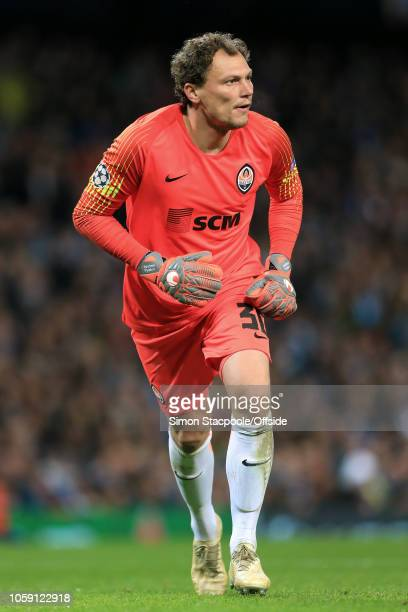 Shakhtar goalkeeper Andriy Pyatov in action during the Group F match of the UEFA Champions League between Manchester City and Shakhtar Donetsk at the...
