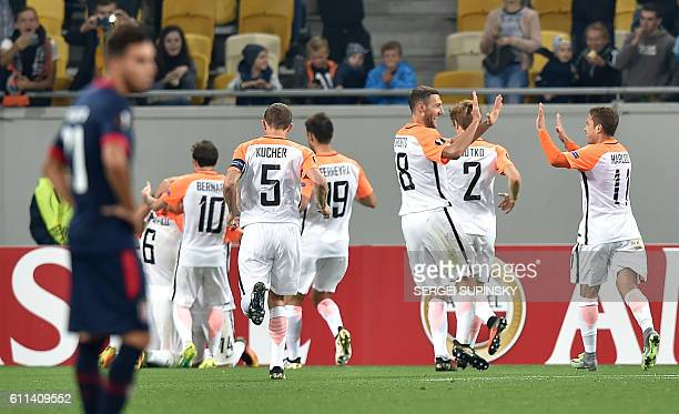 FC Shakhtar players celebrates scoring during the UEFA Europa League football match FC Shakhtar Donetsk vs SC Braga at the Arena Lviv stadium in Lviv...