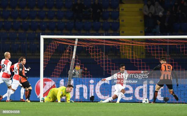 FC Shakhtar's Argentinian forward Facundo Ferreyra scores during the UEFA Champions League Group F football match between FC Shakhtar Donetsk and...