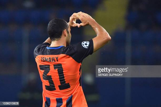 Shakhtar's Brazilian defender Ismaily celebrates after scoring a goal during the UEFA Champions League Group F football match between FC Shakhtar...