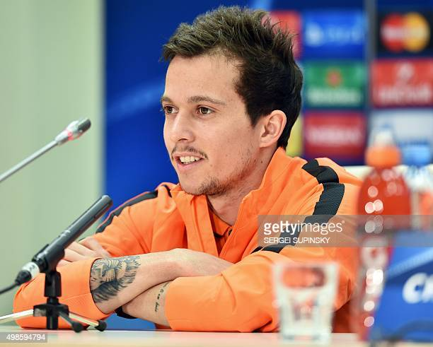 FC Shakhtar's Brazilian midfielder Bernard speaks during a press conference at the Arena Lviv Stadium in Lviv on November 24 on the eve before the...