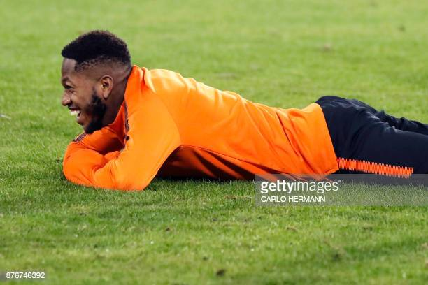 Shakhtar's Brazilian midfielder Fred reacts during a training session on the eve of the UEFA Champions League Group F football match SSC Napoli vs FC...
