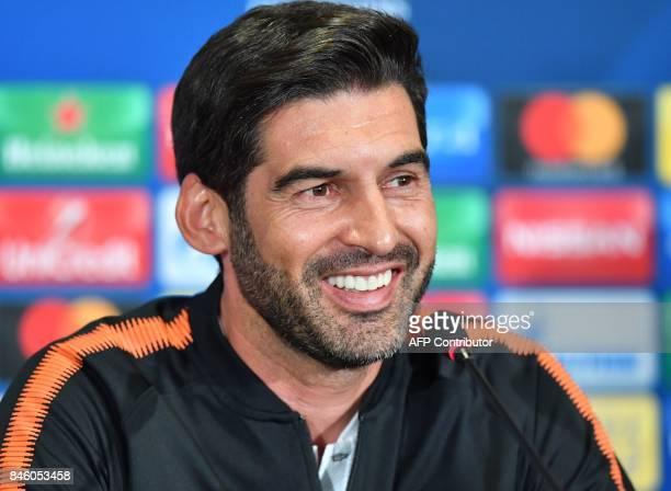 FC Shakhtars coach Paulo Fonseca reacts as he addresses a press conference at The Metalist Stadium in Kharkiv on September 12 on the eve of the UEFA...