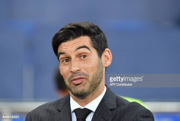 FC Shakhtar's coach Paulo Fonseca reacts during the UEFA Champions League Group F football match between FC Shakhtar Donetsk and SSC Napoli at The...