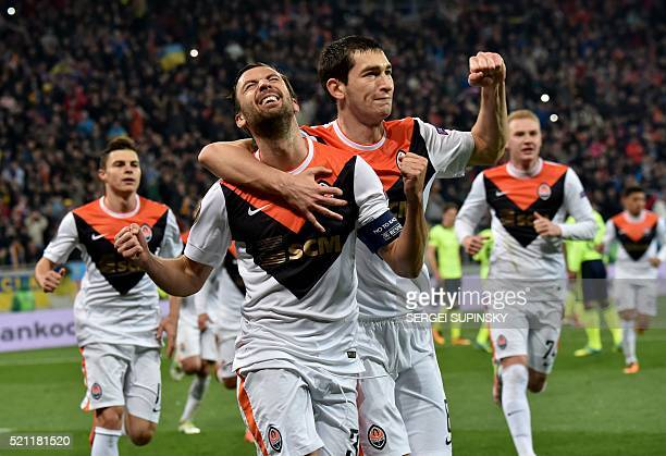 FC Shakhtar's Darijo Srna celebrates after scoring a goal during the UEFA Europa League quarter finals second leg football match between SC Braga and...