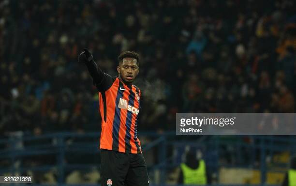 Shakhtar's Fred reacts during match of the EightFinals finals of the Champions League between FC Shakhtar and Roma at Metalist Stadium in Kharkov...
