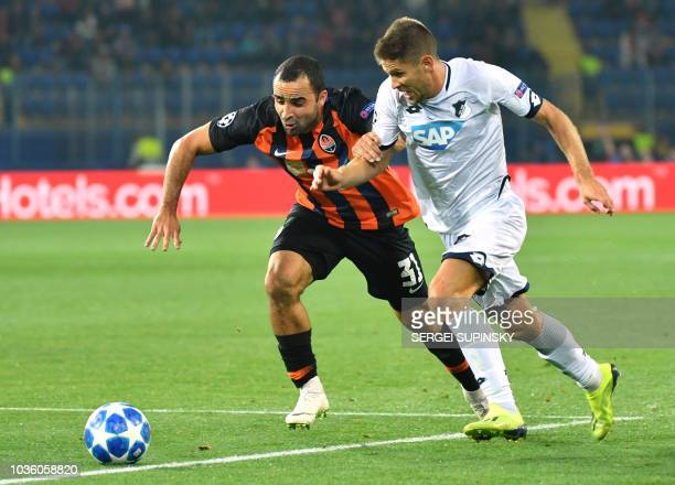 Shakhtar's Ismaily vies for the ball with Hoffenheim's Andrej Kramaric during the UEFA Champions League Group F football match between FC Shakhtar...