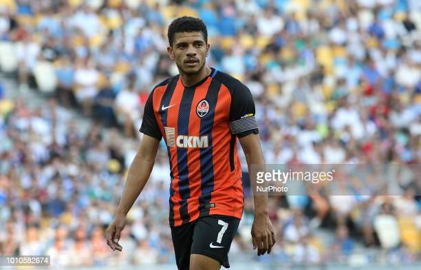 Shakhtar's player Tyson looks at the players during match of the Ukrainian Football Championship between Dynamo Kiev and Shakhtar Donetsk at the...