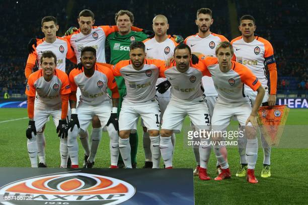 Shakhtar's players pose prior to the UEFA Champions League group F football match between Shakhtar Donetsk and Manchester City on December 6 at the...