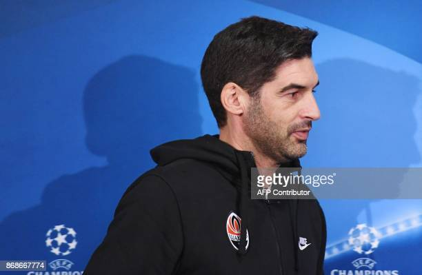 FC Shakhtars Portuguese coach Paulo Fonseca attends a press conference at the Metalist stadium in Kharkiv on October 31 on the eve of the UEFA...