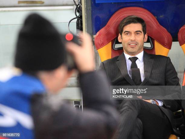 Shakhtar's Portuguese coach Paulo Fonseca looks on during the UEFA Champions League Round of 16 second leg football match AS Roma vs FC Shakhtar...