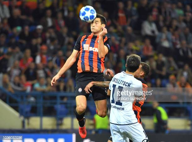 Shakhtar's Taras Stepanenko vies for the ball with Hoffenheim's Florian Grillitsch during the UEFA Champions League Group F football match between FC...