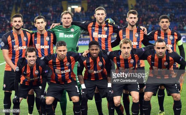 FC Shakhtar's team players Shakhtar Donetsk's Brazilian midfielder Bernard Shakhtar Donetsk's Ukrainian midfielder Marlos Shakhtar Donetsk's...