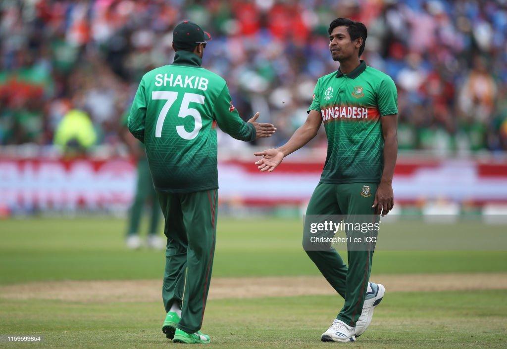 Shakib Al Hasan and Mustafizur Rahman of Bangladesh (Photo by Christopher Lee-ICC/ICC via Getty Images)