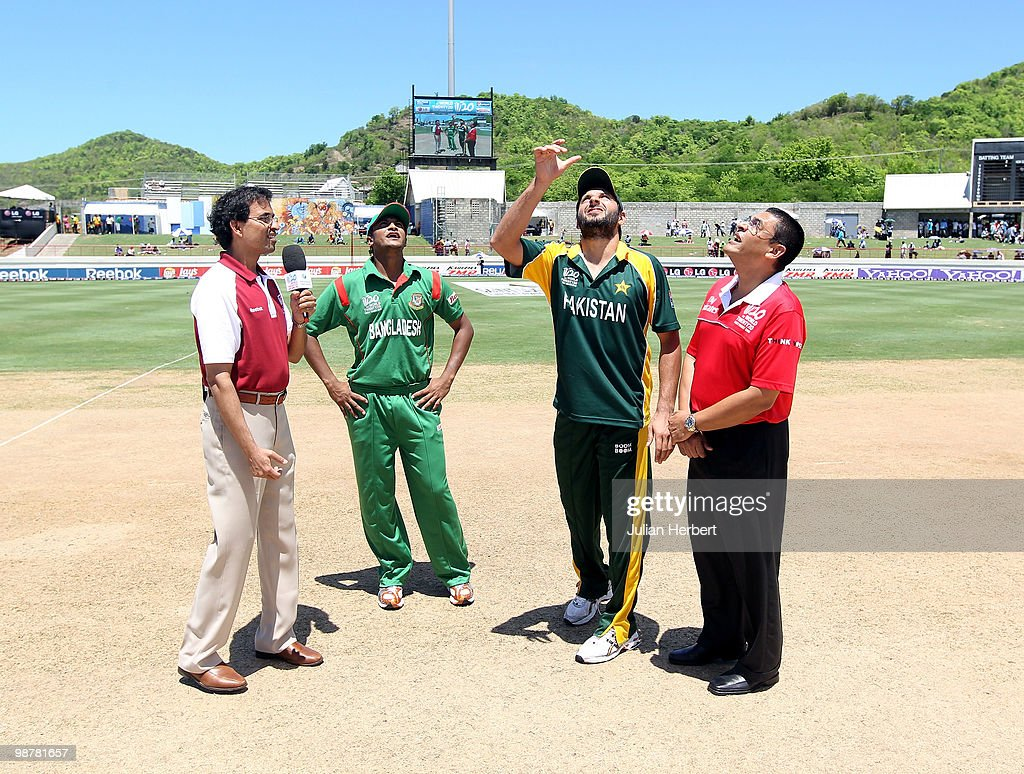 Shakib Al Hasan of Bangladesh and Shahid Afridi of Pakistan take part in the coin toss before The ICC World Twenty20 Group A match between Pakistan and Bangladesh played at The Beausejour Cricket Ground on May 1, 2010 in Gros Islet, Saint Lucia.