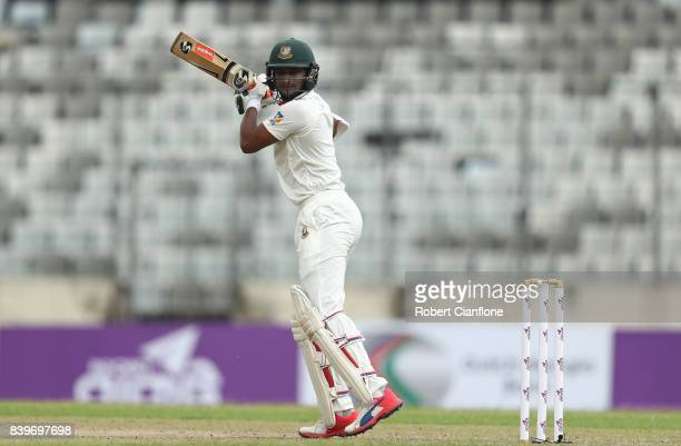 Shakib Al Hasan of Bangladesh bats during day one of the First Test match between Bangladesh and Australia at Shere Bangla National Stadium on August...