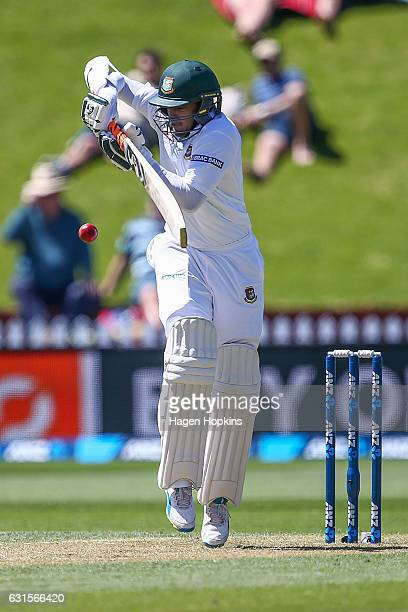 Shakib Al Hasan of Bangladesh bats during day two of the First Test match between New Zealand and Bangladesh at Basin Reserve on January 13 2017 in...