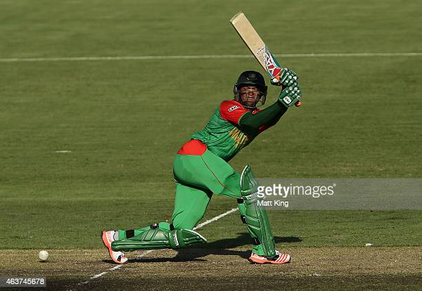 Shakib Al Hasan of Bangladesh bats during the 2015 ICC Cricket World Cup match between Bangladesh and Afghanistan at Manuka Oval on February 18 2015...