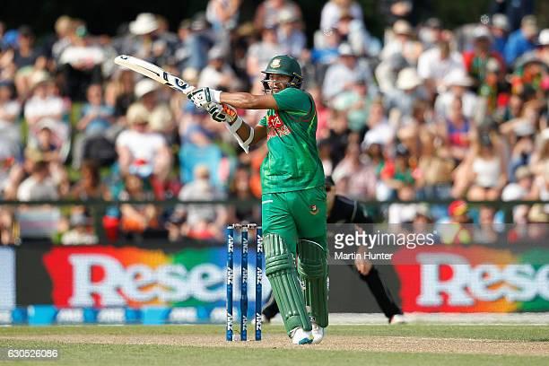 Shakib Al Hasan of Bangladesh bats during the first One Day International match between New Zealand and Bangladesh at Hagley Oval on December 26 2016...