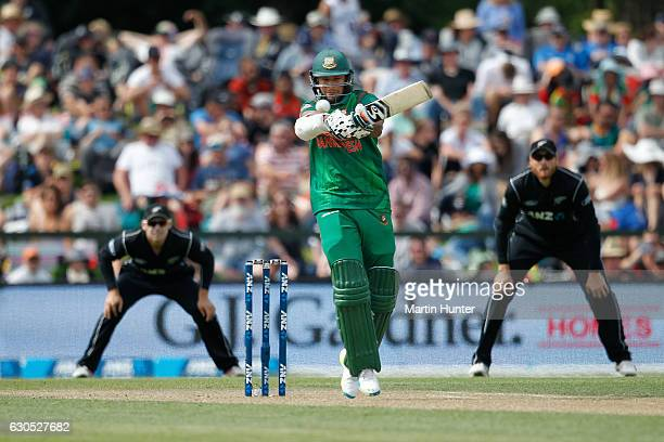 Shakib Al Hasan of Bangladesh bats during the first One Day International match between New Zealand and Bangladesh at Hagley Oval on December 26 2016...