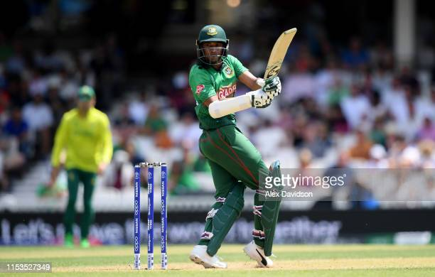 Shakib Al Hasan of Bangladesh bats during the Group Stage match of the ICC Cricket World Cup 2019 between South Africa and Bangladesh at The Oval on...