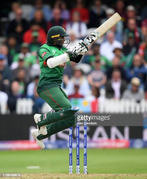 Shakib Al Hasan of Bangladesh bats during the Group Stage match of the ICC Cricket World Cup 2019 between West Indies and Bangladesh at The County...