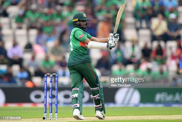 Shakib Al Hasan of Bangladesh bats during the Group Stage match of the ICC Cricket World Cup 2019 between Bangladesh and South Africa at The...