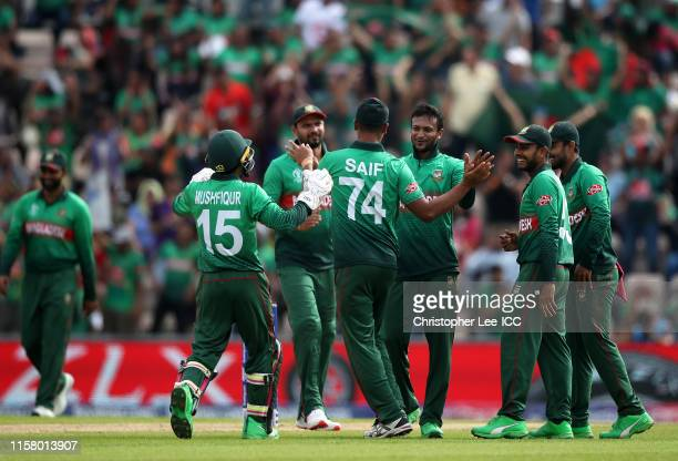 Shakib Al Hasan of Bangladesh celebrates after taking the wicket of Mohammad Nabi of Afghanistan during the Group Stage match of the ICC Cricket...