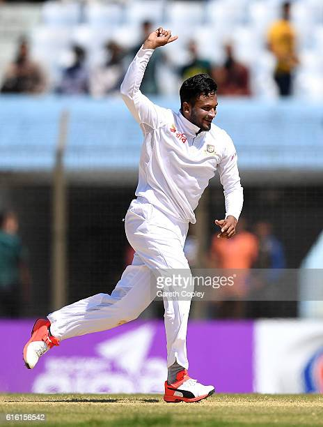 Shakib Al Hasan of Bangladesh celebrates dismissing Ben Duckett of England during the 3rd day of the 1st Test match between Bangladesh and England at...