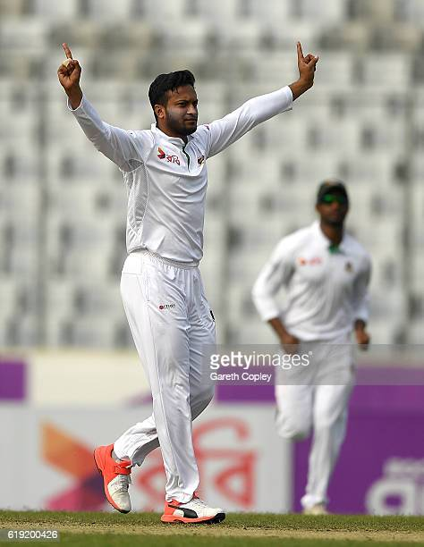 Shakib Al Hasan of Bangladesh celebrates dismissing Joe Root of England during day three of the second Test match between Bangladesh and England at...