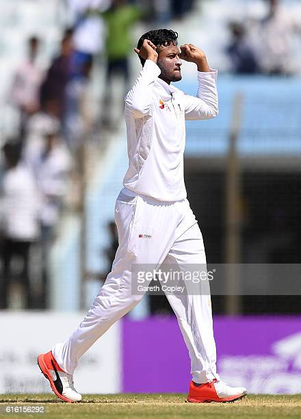 Shakib Al Hasan of Bangladesh celebrates dismissing Joe Root of England during the 3rd day of the 1st Test match between Bangladesh and England at...