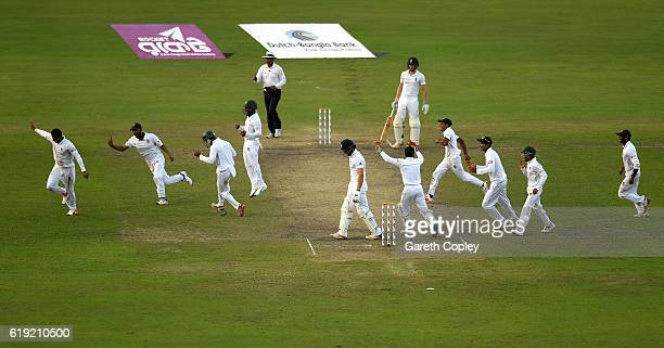 Shakib Al Hasan of Bangladesh celebrates dismissing Zafar Ansari of England during day three of the second Test match between Bangladesh and England...