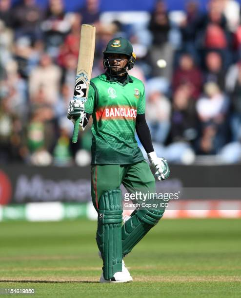 Shakib Al Hasan of Bangladesh celebrates reachinf his century during the Group Stage match of the ICC Cricket World Cup 2019 between England and...