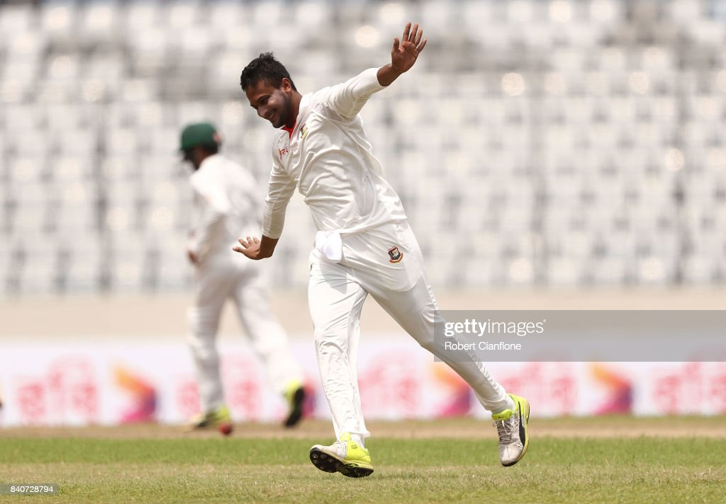 Shakib Al Hasan of Bangladesh celebrates taking the wicket of Glenn Maxwell of Australia during day four of the First Test match between Bangladesh and Australia at Shere Bangla National Stadium on August 30, 2017 in Mirpur, Bangladesh.