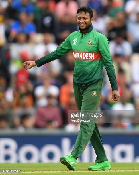 Shakib Al Hasan of Bangladesh celebrates taking the wicket of Najibullah Zadran of Afghanistan during the Group Stage match of the ICC Cricket World...