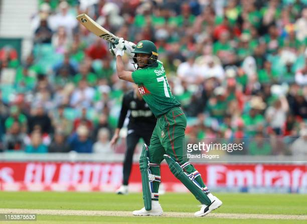 Shakib Al Hasan of Bangladesh drives the ball to the boundary during the Group Stage match of the ICC Cricket World Cup 2019 between Bangladesh and...