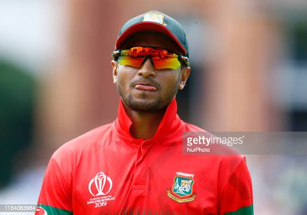 Shakib Al Hasan of Bangladesh during ICC Cricket World Cup between Pakinstan and Bangladesh at the Lord's Ground on 05 July 2019 in London England