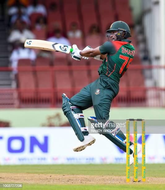 Shakib Al Hasan of Bangladesh hits 4 during the 1st ODI match between West Indies and Bangladesh at Guyana National Stadium, Providence, Guyana, on...