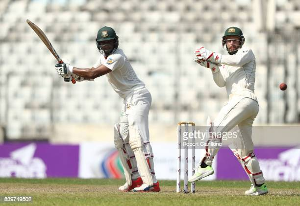 Shakib Al Hasan of Bangladesh hits out during day one of the First Test match between Bangladesh and Australia at Shere Bangla National Stadium on...