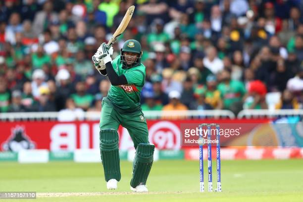 Shakib Al Hasan of Bangladesh hits through long off during the Group Stage match of the ICC Cricket World Cup 2019 between Australia and Bangladesh...
