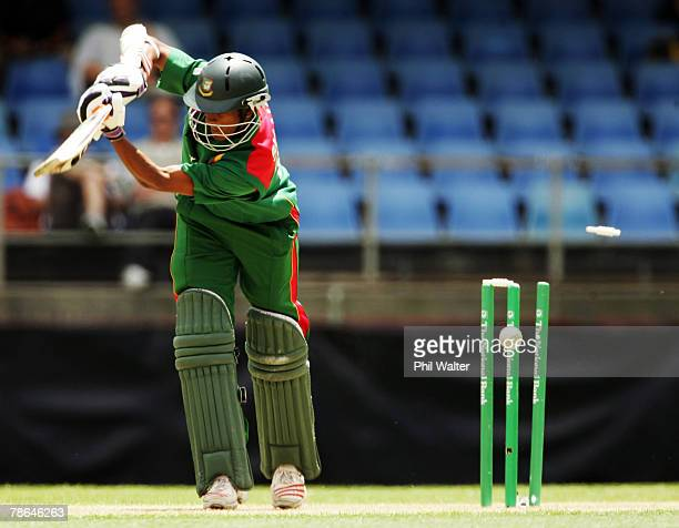 Shakib Al Hasan of Bangladesh is bowled by Mark Gillespie of New Zealand during the first one day international match between the New Zealand Black...