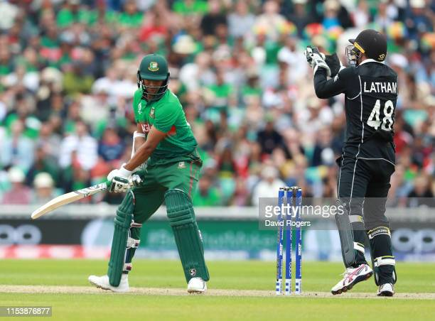 Shakib Al Hasan of Bangladesh is caught behind by Tom Latham during the Group Stage match of the ICC Cricket World Cup 2019 between Bangladesh and...