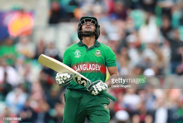 Shakib Al Hasan of Bangladesh looks dejected after being caught behind by Tom Latham during the Group Stage match of the ICC Cricket World Cup 2019...