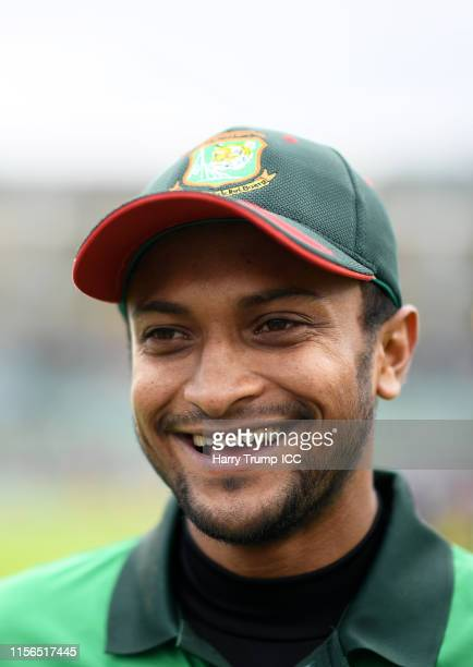 Shakib Al Hasan of Bangladesh looks on during the Group Stage match of the ICC Cricket World Cup 2019 between West Indies and Bangladesh at The...