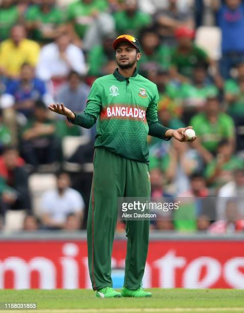 Shakib Al Hasan of Bangladesh looks on during the Group Stage match of the ICC Cricket World Cup 2019 between Bangladesh and South Africa at The...