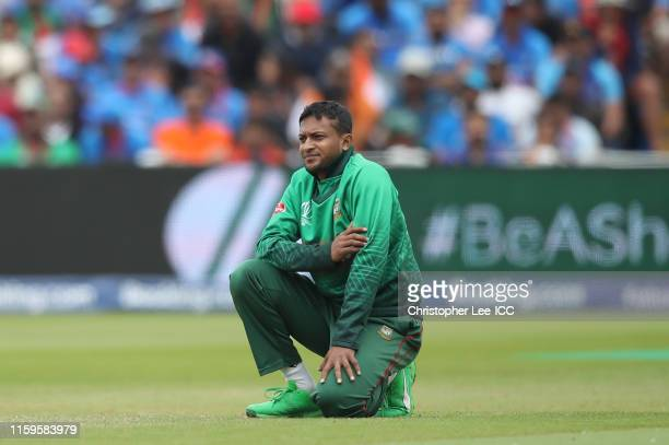 Shakib Al Hasan of Bangladesh looks on during the Group Stage match of the ICC Cricket World Cup 2019 between Bangladesh and India at Edgbaston on...
