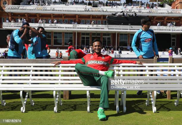 Shakib Al Hasan of Bangladesh looks on during the Group Stage match of the ICC Cricket World Cup 2019 between Pakistan and Bangladesh at Lords on...