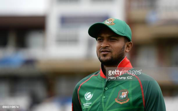 Shakib Al Hasan of Bangladesh looks on during the ICC Champions Trophy Warmup match between India and Bangladesh at the Kia Oval on May 30 2017 in...
