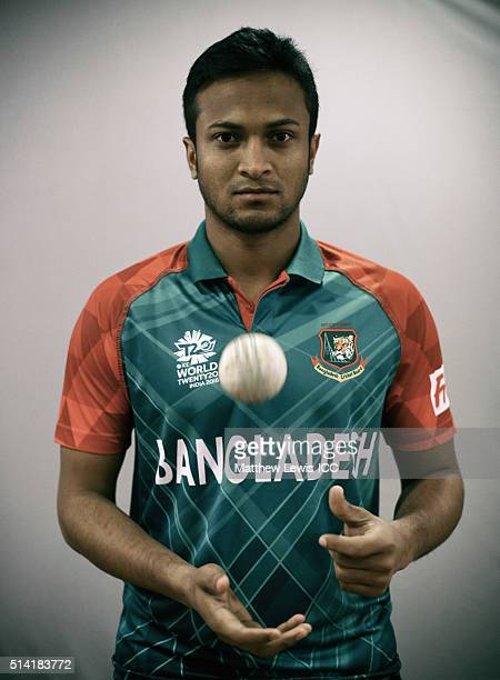 Shakib Al Hasan of Bangladesh pictured during a Headshot session ahead of the ICC Twenty20 World Cup on March 7 2016 in Dharamsala India
